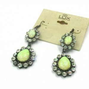 LUX accessories Gemstone Dangle Statement Earrings
